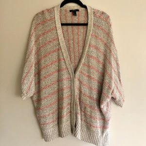 Forever 21 Pink and Grey Striped Cardigan